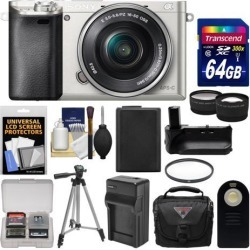 Sony Alpha A6000 Wi-Fi Digital Camera & 16-50mm Lens (Silver) with 64GB Card + Case + Battery & Charger + Grip + Tripod + Tele/Wide Lens Kit