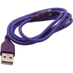 Nylon Braided USB 2.0 A Male to Micro B Charger Cable Purple for Android Phone