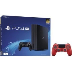 PlayStation 4 Pro 1TB Jet Black 4K HDR Gaming Console Bundle With an Extra Magma Red DualShock 4 Wireless Controller