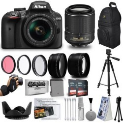 Nikon D3400 24MP DSLR Digital Camera AF-P 18-55mm + NIKKOR Lens 55-200mm + High Definition Professional 3 Piece Filter Kit + 64GB Memory SD Card.