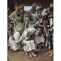 Posterazzi SAL999466 Jacob Mourns His Son Joseph James J Tissot 1836-1902 French Watercolor Jewish Museum New York Print - 18 x 24 in.