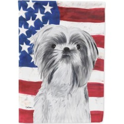 USA American Flag with Shih Tzu Flag Canvas House Size