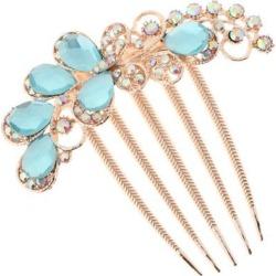 Handmade Bridal Hair Comb Crystal Headpiece Wedding Hair Clip Stick Sky Blue