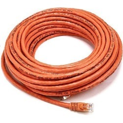Monoprice Cat6 Ethernet Patch Cable - Network Internet Cord - RJ45, Stranded, 550Mhz, UTP, Pure Bare Copper Wire, Crossover, 24AWG, 50ft, Orange