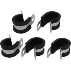 14mm Dia EPDM Rubber Lined P Clips Cable Hose Pipe Clamps Holder 5pcs