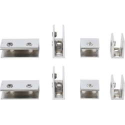 Home Zinc Alloy Door Glass Clamp Brackets Fixing Clips Holder Silver Tone 8 in 1