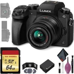 Panasonic Lumix DMC-G7 Mirrorless Micro Four Thirds Digital Camera w/ 14-42mm Lens (Black) - 64GB - Memory Card Wallet - Reader - Battery