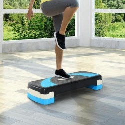 Soozier Adjustable Aerobic Stepper Step Exercise Trainer Workout Fitness Yoga Risers (Blue)