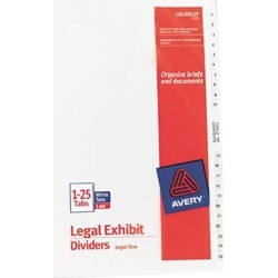 Avery 11371 Premium Collated Legal Dividers Avery Style, Legal Size, 1-25 & Table of Contents Tab Set (11371)