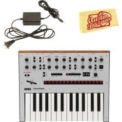 Korg Monologue Monophonic Analog Synthesizer - Silver Bundle with Power Suppl.