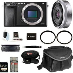 Sony a6000: Alpha A6000 Mirrorless Digital Camera (Body) with 16mm Lens and 32GB Deluxe Accessory Kit