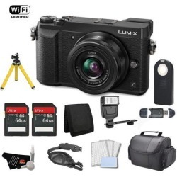 Panasonic Lumix 4k Mirrorless Micro Four Thirds Digital Camera with 12-32mm Lens (Black) Bundle with 2x 64GB Memory Cards + Carrying Case + More