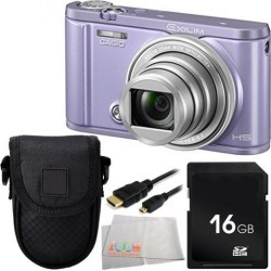 Casio Exilim Selfie Digital Camera EX-ZR3600 (Violet) 16GB Bundle 4PC Accessory Kit. Includes 16GB Memory Card + Micro HDMI Cable + Carrying Case +.