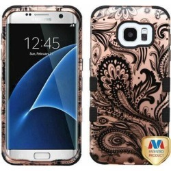 For Samsung Galaxy S7 Edge Phoenix Flower 2D Rose Gold TUFF Hybrid Phone Case