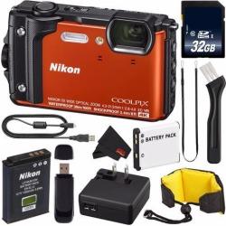 Nikon COOLPIX W300 Digital Camera (Orange) 26524 International Model + EN-EL12 Replacement Lithium Ion Battery + 32GB SDHC Class 10 Memory Card + SD