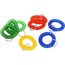 Unique Bargains 8Pcs Multicolor Stretchy Coiled Band Hand Wrist Keychain Key Holder