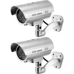 Fake Security Camera Dummy CCTV Surveillance System with Blinking Red LED Warning Alert Light, Sticker for Home Outdoor Indoor Silver 2pcs found on Bargain Bro India from Newegg Canada for $22.24