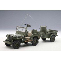 Jeep Willys Army Green with Trailer and Accessories 1/18 Diecast Model by Autoart found on Bargain Bro Philippines from Newegg Business for $467.24