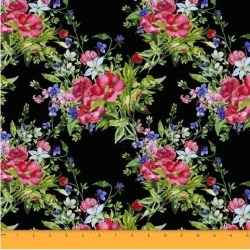 Soimoi Floral Printed Sewing Material 58 Inches Wide Cotton Voile Fabric Supplies By The Meter-Black