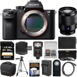 Sony Alpha A7S II 4K Wi-Fi Digital Camera Body with T* FE 24-70mm f/4 Lens + 64GB Card + Case + Flash + Battery & Charger + Tripod + Kit