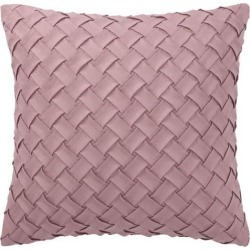 Throw Pillow Cover Stylish Basket Weave Pattern Soft Solid Decorative Pillow Case Home Decor Design Cushion Cover for Sofa Bedroom Car, Pink.