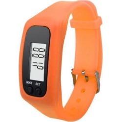 Fashion Digital LCD Pedometer Step Walking Distance Calorie Counter Wrist Watch Bracelet Orange