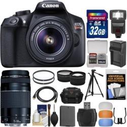 Canon EOS Rebel T6 Wi-Fi Digital SLR Camera & EF-S 18-55mm IS II + 75-300mm III Lens + 32GB Card + Case + Flash + Battery & Charger + Tripod + Lens.