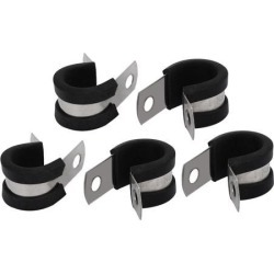 15mm Dia EPDM Rubber Lined P Clips Cable Hose Pipe Clamps Holder 5pcs