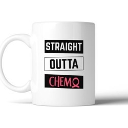 Straight Outta Chemo White Ceramic Coffee Mug For Cancer Support