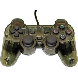 Transparent Black Controller for Playstation PS1 PS2 by Mars Devices