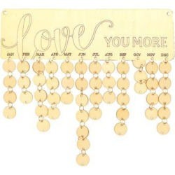 Love you More Birthday Planner Board Wood Sign Reminder Hanging Plaque Gifts