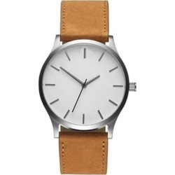 Men Concise Casual Watches Quartz Clock Fashion Army Military Leather Wrist Band Watch Brown white dial