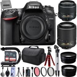 Nikon D7200 24.2MP 1080P DSLR Camera w/ 3.2' LCD - Wi-Fi & GPS Ready + 4 Lens - 18 to 200mm - 64GB - 30PC Kit - Nikon 18-55VR - Nikon 55-200VR Lens -
