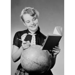 Posterazzi SAL255419017 Girl Reading Book & Globe Poster Print - 18 x 24 in.