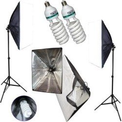 Studio Lighting Kit 2x Lamp Stands, 20' Soft Boxes, & 105w 5500K CFL = to 800w