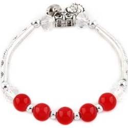 Women Bell Decor Stretchy Bead Chain Wrist Bracelet Bangle Red found on Bargain Bro India from Newegg Canada for $11.56
