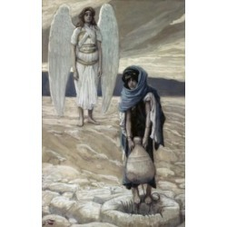 Posterazzi SAL99929 Hagar & the Angel in the Desert James Tissot 1836-1902 French Watercolor on Paper Jewish Museum New York - 18 x 24 in.