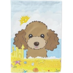 Chocolate Brown Poodle Summer Beach Flag Garden Size BB2124GF