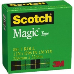 Scotch 810-1-1296 Magic Office Tape, 1' x 1296', 1' Core, Clear
