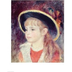 Posterazzi BALXIR83668LARGE Portrait of A Young Girl in A Blue Hat 1881 Poster Print by Pierre-Auguste Renoir - 24 x 36 in. - Large found on Bargain Bro Philippines from Newegg Canada for $86.13