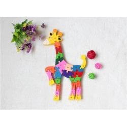 Children's Educational Toys 26 English Letters Digital Cognitive Wooden Building Blocks Sika Deer