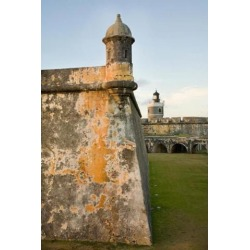 Posterazzi PDDAU02JME0000 Puerto Rico Walls & Turrets of El Morro Fort Poster Print by John & Lisa Merrill - 18 x 26 in.