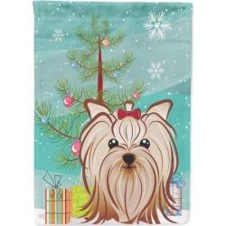 Christmas Tree and Yorkie Yorkishire Terrier Flag Garden Size BB1576GF