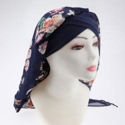 Women Elastic Head Scarf Turbans Night Sleep Hat Chemo Hair Loss Wrap Cap Dark Blue