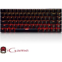 iGame Ajazz AK33S Mechanical Gaming Keyboard, Backlit Red LED, Blue Mechanical Switches (Black)