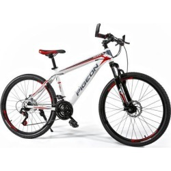 "FLYING-PIGEON 26"" High carbon steel frame mountain bike Shimano dip 21 speed MTB bicycle-White/Red"