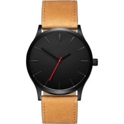 Men Concise Casual Watches Quartz Clock Fashion Army Military Leather Wrist Band Watch Brown black dial