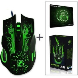 LUOM Professional Wired Gaming Mouse, X9 Gaming Mice 6 Button 5000 DPI LED Optical USB Gamer Computer Mouse Mice Cable Mouse with Gaming Mouse Pad.