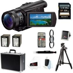 SONY AX100: Sony FDR-AX100/B FDRAX100 AX100 4K Ultra HD Camcorder (Black) + Sony 64GB SDXC Memory Card + 67mm Photo Essentials Kit + Power Battery.