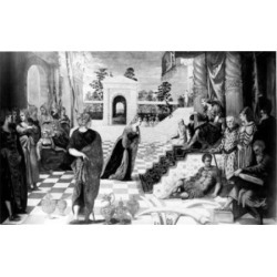 Posterazzi SAL99587118 The Queen of Sheba Before Solomon by Jacopo Robusti Tintoretto 1518-1594 Poster Print - 18 x 24 in.